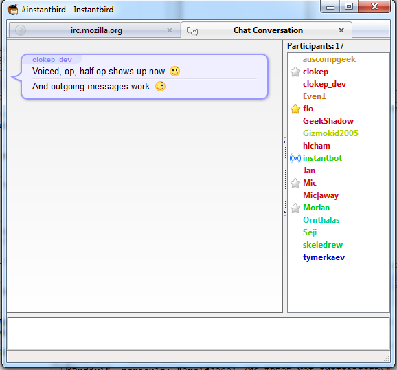 Example conversation using JavaScript IRC.